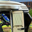 Camper brandt uit op camperplaats bij station Dalfsen
